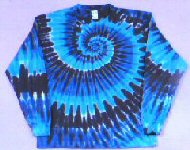Long Sleeve T-shirt Blues Spiral Tie-dye