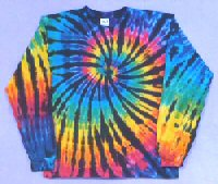Long Sleeve T-shirt Rainbow-Black Spiral Tie-dye