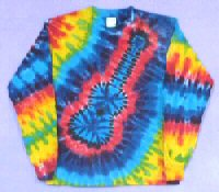 Rainbow Guitar Tie-dye Long Sleeve T-shirt