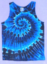 Mens Tank Top Blues Spiral Tie-dye