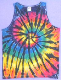 Mens Tank Top Rainbow Black Spiral Tie-dye