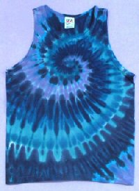 Tie dye Mens Tank Top Teal Spiral